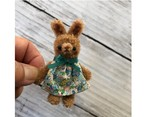 dollnodollお人形のためのテディベア【チョコグリーン花柄ワンピちびうさ】