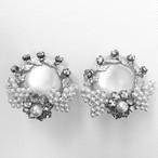 pearl & rhinestone flower design earring[e-704]