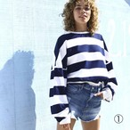 [ベーシックカラー] STRIPE TOMBOY SWEAT SHIRT (navy) TNH19100-31