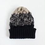 【再販】編み込みグラデーションニット帽(ブラック×ベージュ)