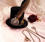 ミニハット 帽子  ヘアアクセ 結婚式 ゴシック ロリータ ゴスロリ チェーン付 ヘッドドレス 黒【ot-01】