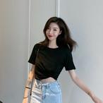 【tops】ラウンドネックファッション無地Tシャツ19578732