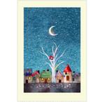 『小鳥のおうち』  月夜の街並みに真っ赤な鳥小屋  三日月も印象的なイラスト ポストカード