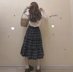 【送料無料】コーデのアクセントに♡ チェック柄 ミモレ丈 フリル Aラインスカート