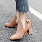 【shoes】ローヒールブーツリボン飾りエレガントブーツ