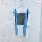 『むくり』リメイクTシャツ - WHITE×BLUE