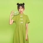 チャイナ風ワンピース 唐装 漢服 チャイナ風服 チャイナボタン チャイナドレス 半袖 ショート丈 スタンドネック 女子会 合わせやすい 可愛い S M L LL グリーン 緑
