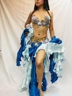 エジプト製ベリーダンス衣装 水色&ブルー