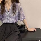 【送料無料】 夏っぽ 柄シャツ♡ 大人カジュアル タイダイ柄 オープンカラー 開襟 シアーシャツ 半袖 トップス