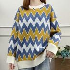 【トップス】カジュアルラウンドネック幾何模様長袖セーター14951470