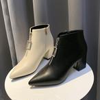 【shoes】ファスナー飾りラインストーン大活躍ブーツ 23185414