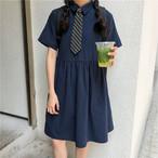 【送料無料】 スクールガール♡ ネクタイ付き 膝丈 シャツ ワンピース ハイウエスト Aライン
