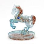 馬型 アクアマリン&アパタイト オルゴナイト 置物 財運をもたらす馬モチーフ