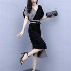 【dress】美しい姿配色エレガントvネックスリットワンピース 22489172
