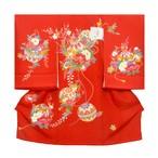 お宮参り 女の子着物 赤 鞠組紐に花