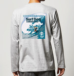No.2020-welshcorgi-longts002  : 長袖Tシャツ 5.6oz  サーフシリーズ コーギーサファーマン バージョン2 big wave NO SURF NO LIFE