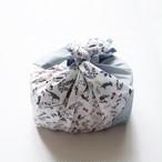ひとりで包めるようになる お弁当包み 刺繍入「リバティ&ブルー」