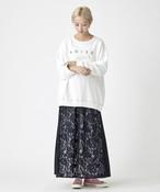 レース切替ジャージスカート(ネイビー)