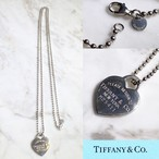 """TIFFANY silver heart charm pendant with long ball chain necklace """"return to"""""""