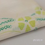 正絹絽 白地に緑の撫子の帯揚げ