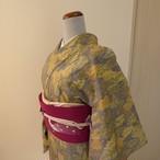 紬 濃紺に葉っぱの模様 袷の着物