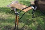 NEW! アイアン×タモ材のサイドテーブル「打ち込みタイプ」フック付 CAMPOOPARTS  キャンプ オーパーツ