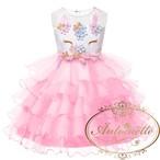 3色展開 ピンク 青 紫 おんなのこ ペガサス ユニコーン たんじょうび ドレス フリル 発表会 撮影用ドレス