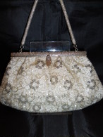 シルバービーズビィンテージバック silver color bead vintage bag (made in Japan)(No41)