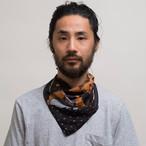 Silk Cotton 'Tribute' Orange リング付きミニスカーフ