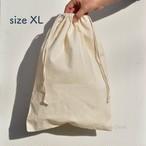 【100% Natural Organic Cotton Drawstring Bag size XL】ナチュラル オーガニック コットン 100% の シンプルな 巾着袋 【 XL サイズ 】