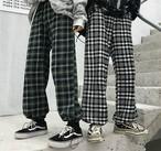 チェック柄 パンツ レディース ストリート系 ズボン ワイド 原宿系 韓国ファッション 秋冬【tb-606】