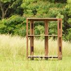 【受注生産】キャンプ用 木製折りたたみ3段棚(ダーク色)