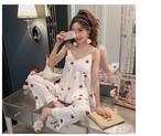 2カラー ホワイト ピンク イチゴ柄 大人女子 パジャマ パーティー ルームウェア