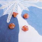 1960's オレンジガラスのビーズキャップ(2コ)