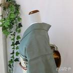 正絹紬 御召茶に刺し子の鳥の刺繍の付け下げ 単衣