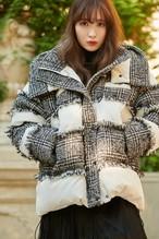 Hooded Tweed Shell Down Jacket