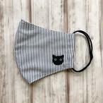 通気性が良くすぐ乾く!耳元まで覆う安心立体型【黒猫の顔刺繍ワンポイント】