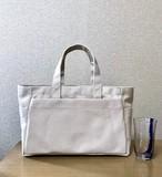 (受注生産)「ボックストート」横長サイズ 帆布トートバッグ 「生成り」倉敷帆布8号