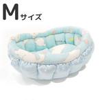 ふーじこちゃんママ手作り ぽんぽんベッド (サテンライトブルー・フリース猫柄B)Mサイズ