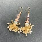 ROSARY Beads Tassel ピアス - rose/natural/pearl- 【イヤリング変更可】