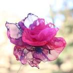 ピンクパープル③|カラフルオーガンジーのアートフラワー【造花】