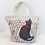 【メゾンドキャッツ】カラープリントミニトートバッグ(黒猫)【猫グッズ 猫柄 ランチトート】