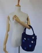 藍染め水玉の丸っぽいトートバッグ 小