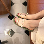 【shoes】合わせやすい人気スクエアトゥ普通切り替えリベットレトロスリッパ/サンダル
