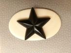 ナンタケットバスケット専用★カービング黒檀の星&象牙プレート
