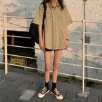 【送料無料】 トレンドのくすみカラー♡ オーバーサイズ シャツ ルーズ レトロ ボーイフレンド 5color