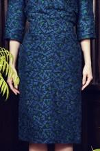 鳥の羽根ジャガード セミタイトスカート green