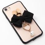 【即納★送料無料】縁ブラッククリアケース ブラックのリボンにハートとパールのチャーム付iPhoneケース