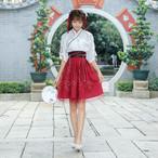 新しい春と夏韓国の衣装の衣装を改善するために女性のクロスカラー襟スカート中国の古風風の刺繍のセット