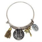 送料込み☆Metal PINEAPPLE and PINETREE Bracelet (silver)